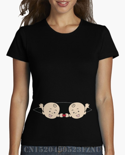2018 Summer Rushed girl t shirt PREGNANCY TWINS short O neck Novelty Knitted hip hop Fou ...
