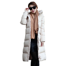 Plus Size L 3XL 2016 New Women Winter Jacket Long Hooded Cotton Parka Knee Length Outerwear