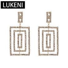 New Gold Design Shiny Rhinestone Dangle Earrings For Women Maxi Boho Multi-layer Square ZA Brand Statement Oorbellen Jewelry