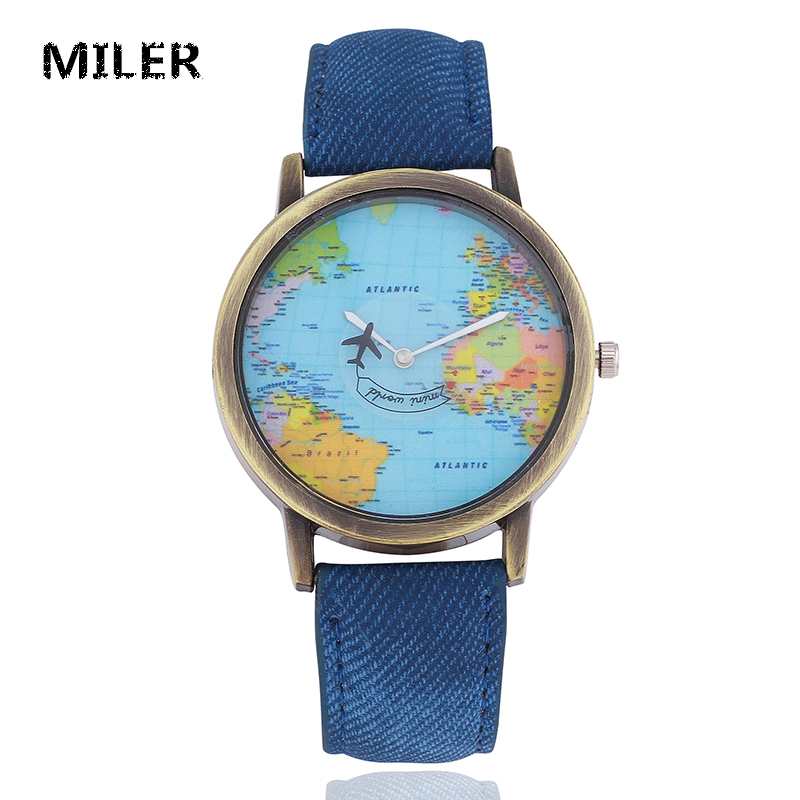 MILER Classic Casual Watch Women Vintage Style Canvas Leather Strap Plane World Map Quartz Wristwatch Ladies Retro Fashion Watch new style women wristwatch quartz watch hand strap cow long leather vintage female roma women dress watch oval black reloj mujie