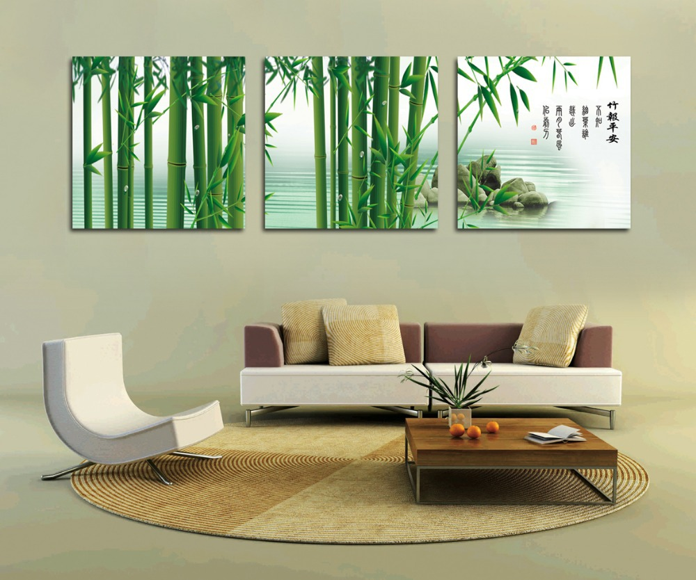 Beau Green Bamboo Painting Fashion Home Decoration Modern Wall Art 3 Piece Canvas  Wall Art Painting Wall Pictures For Living Room In Painting U0026 Calligraphy  From ...