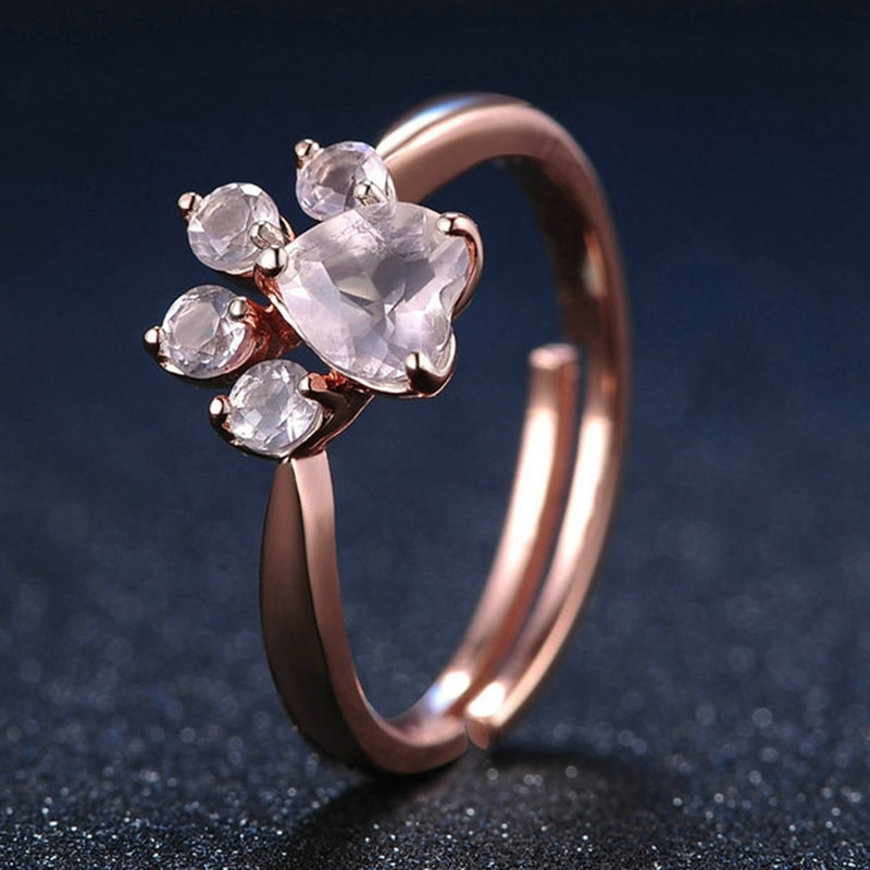 2018 Fashion Pink Cubic Zircon Dog Paw Band Ring For Women Animal Footprint Rose Gold Color Rings Finger Jewelry Adjustable