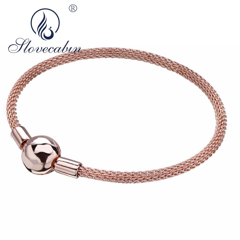Slovecabin 925 Sterling Silver Moment Mesh Bracelets Bangles For Women Three Color Silver 925 Rose Gold Woven Bracelet Bangle