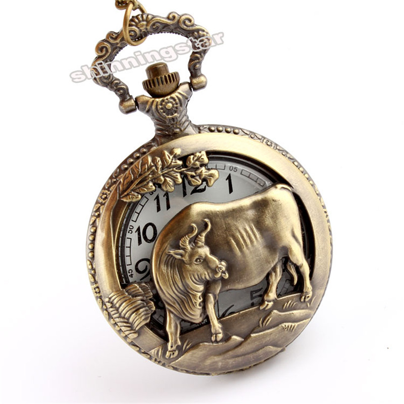 2017 Chinese Zodiac Cow Hollow Quartz Pocket Watch Necklace Pendant Fine Design Pocket Watches For Men Wome Gift With Long Chain