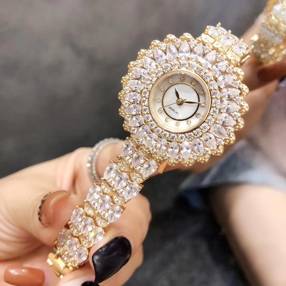 2019 New Luxury Full Stones Bangle Zircon Quartz Wristwatch Mother Of Pearl Round Dial Watch Clock Jewelry For Women Party