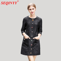 Black Classic Jacquard Dress For Women 2018 Early Spring High End Noble 3/4 Sleeve Exquisite Buttons Pockets A-Line Mini Dresses