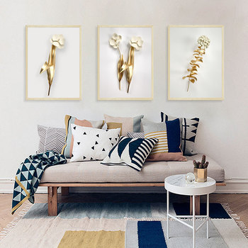 Marco falso 3D oro blanco flor pared pegatina salón sofá dormitorio Fondo decoraciones papel pintado arte pegatinas