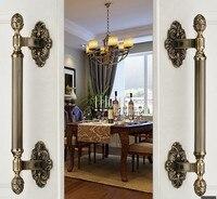 420mm Vintage High Quality Big Gate Door Handle Bronze Wood Door Pull Antique Brass Wood Door