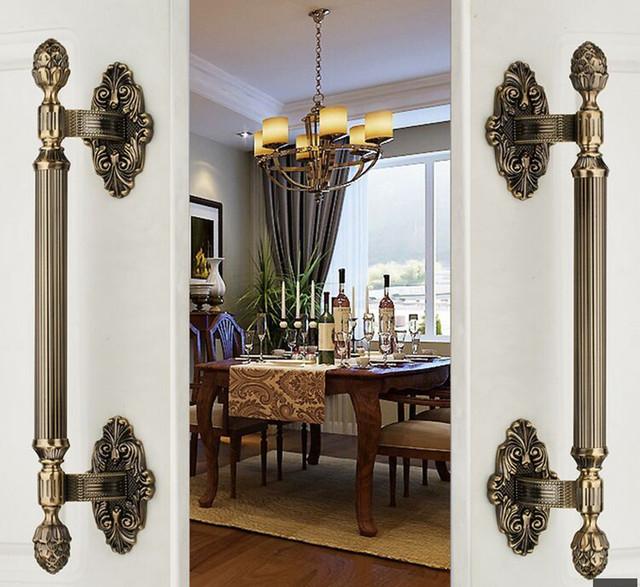 420mm de Alta Qualidade Do Vintage grande portão de bronze maçaneta da porta de madeira puxar porta de bronze antigo porta de madeira maçaneta da porta hardware fiting casa