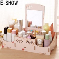 Smiley Face DIY Wooden Storage Box Desk Makeup Cosmetic Box Jewelry Storage Case Organizer With Mirror