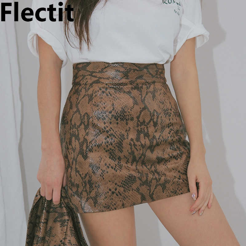 Flectit Party Club Festival Snakeskin Skirt Women Embossed Snake Print Mini Skirt 2019 Fashion Animal Print Skirt Miniskirt
