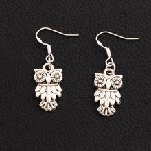 50pair Antique Silver Owl Brid Earrings 925 Fish Ear Hook E991 Dangle Chandelier Jewelry 11x36mm