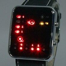 Mujeres hombres Unisex Reloj LED DEL Sistema Binario Display Negro de Cuero de LA PU Reloj de Pulsera de Moda Reloj Fresco Reloj Único