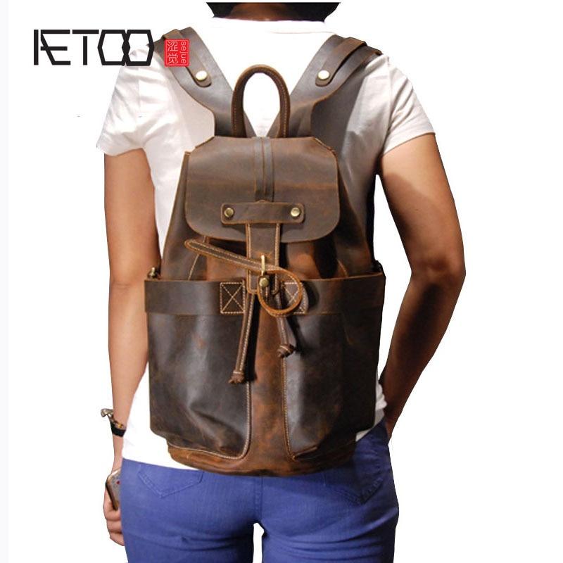 شخصية aetoo جزء الرجعية الطبقة الأولى مجنون الحصان جلد البقر الرجال حقيبة الرجال حقيبة سفر-في حقائب الظهر من حقائب وأمتعة على  مجموعة 1