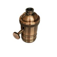 цена на 2PCS Vintage Light Socket E26 E27 Industrial Light Socket Metal Shell with Knob ON/OFF Vintage Edison Pendant Lamp Holder Socket