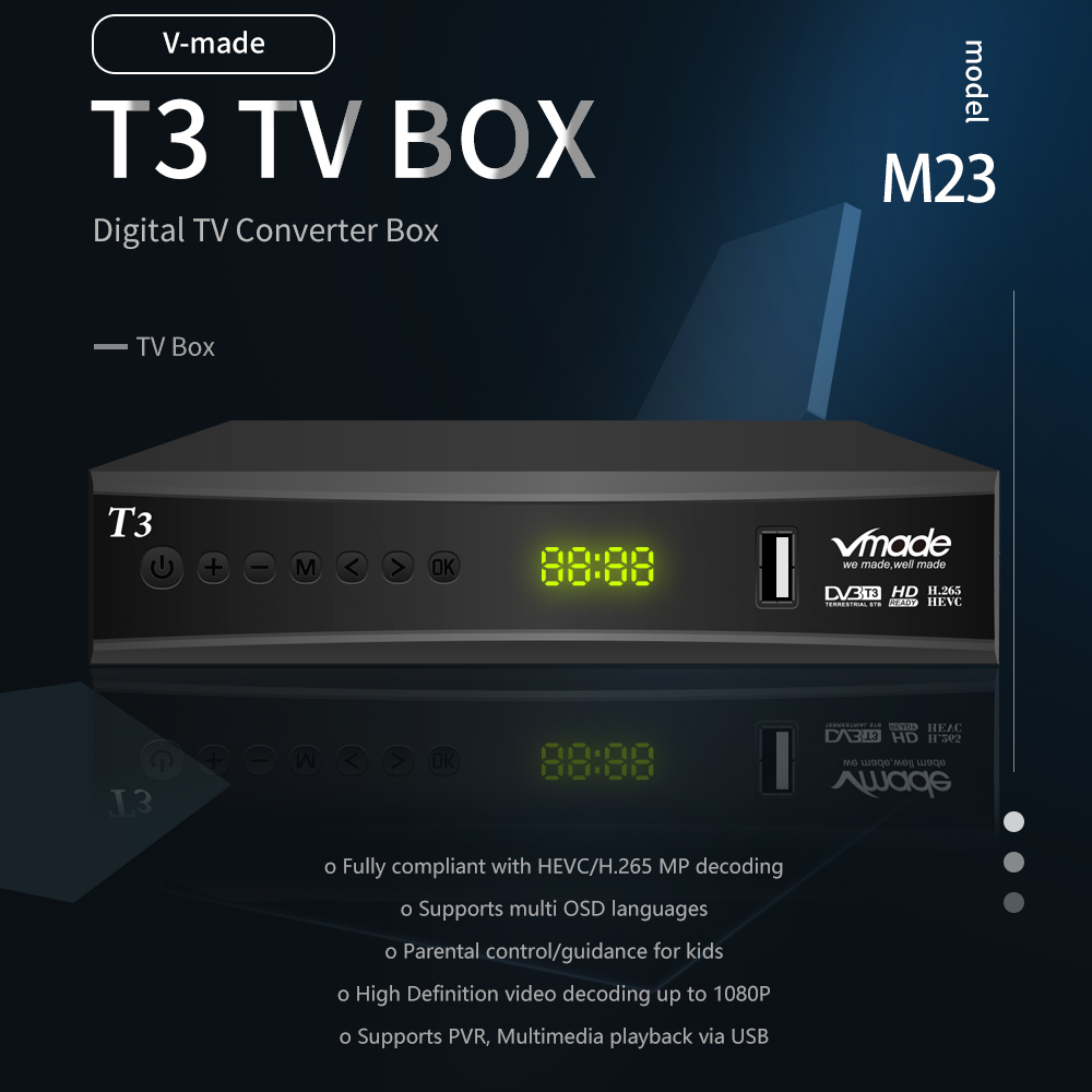 Image 2 - Vmade Fully HD Digital DVB T3 Terrestrial TV Box for Netherlands Support YouTube AC3 H.265 HD 1080p DVB T3 TV Receiver+USB WIFI-in Satellite TV Receiver from Consumer Electronics