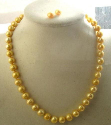 Livraison Gratuite>>>> 10-11 MM mer du sud jaune naturel perle collier cadeau boucle d'oreille fermoir en or