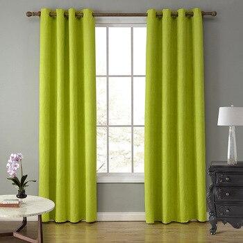 SunnyRain 1-Piece замшевая ткань зеленая занавеска s для гостиной полу затемненная занавеска для спальни шторы топ с ушком cotinas