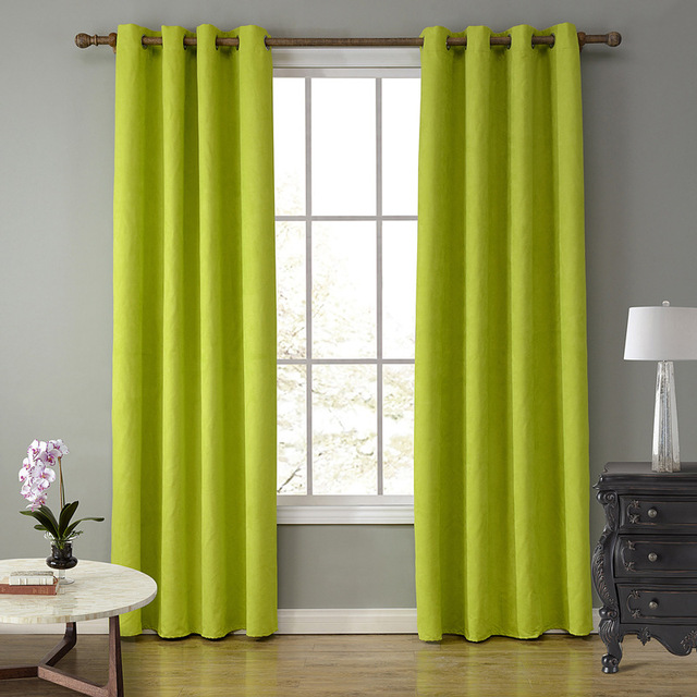 Superb SunnyRain 1 Piece Suede Fabric Green Curtains For Living Room Semi Blackout  Curtain For Bedroom