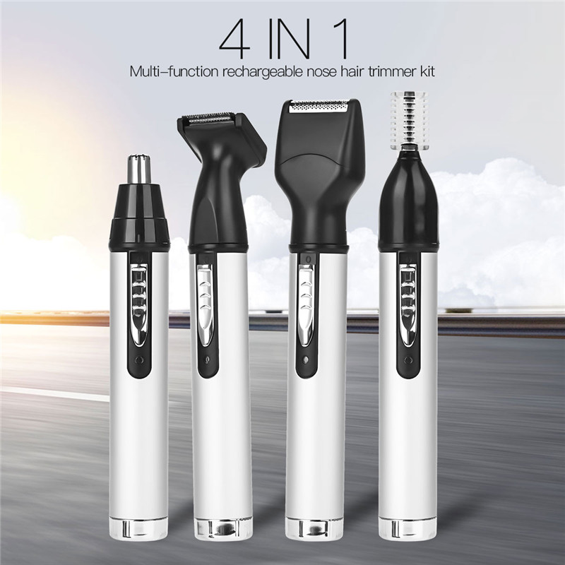 4 In 1 USB Rechargeable Nose Hair Trimmer For Men Trimer Ear Face Eyebrow Nose Hair Removal Wireless Electric Face Care Tool Kit