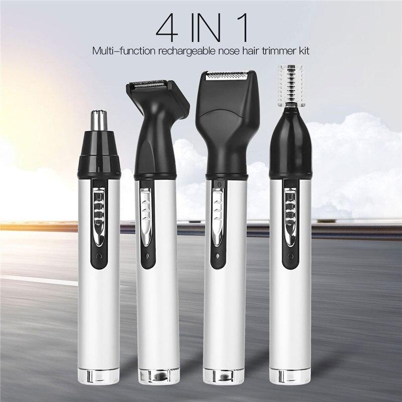 4 em 1 USB Recarregável Nariz Aparador de Pêlos Para Homens Trimer Ouvido Rosto Sobrancelha Remoção de Pêlos Do Nariz Elétrica Sem Fio Rosto kit de Ferramentas de cuidados