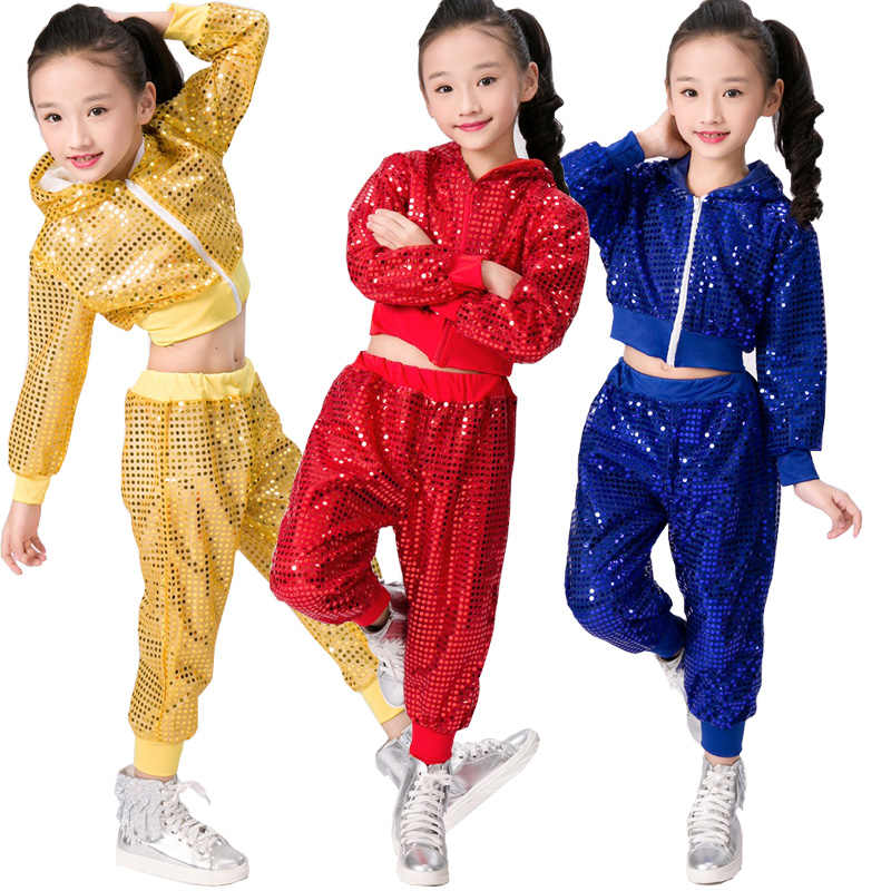 843e03f7843be Sequined Ballroom jazz dance wear Outfits Performance dance costumes Kids  Teenage Hip Hop Dancing Stage Hoodies Tops+Pants