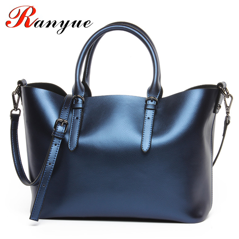 RANYUE LUXURY Genuine Leather Women Shoulder Bag Brand Designer Cowhide Genuine Leather Handbags Skin Crossbody Bag Totes Women luxury genuine leather bag fashion brand designer women handbag cowhide leather shoulder composite bag casual totes