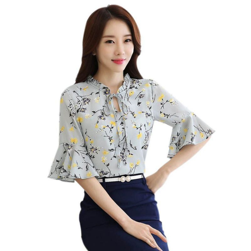 summer blouse Women Flare Sleeve Chiffon Shirts Floral Print Tops Female Half Ladies Girls Blusas
