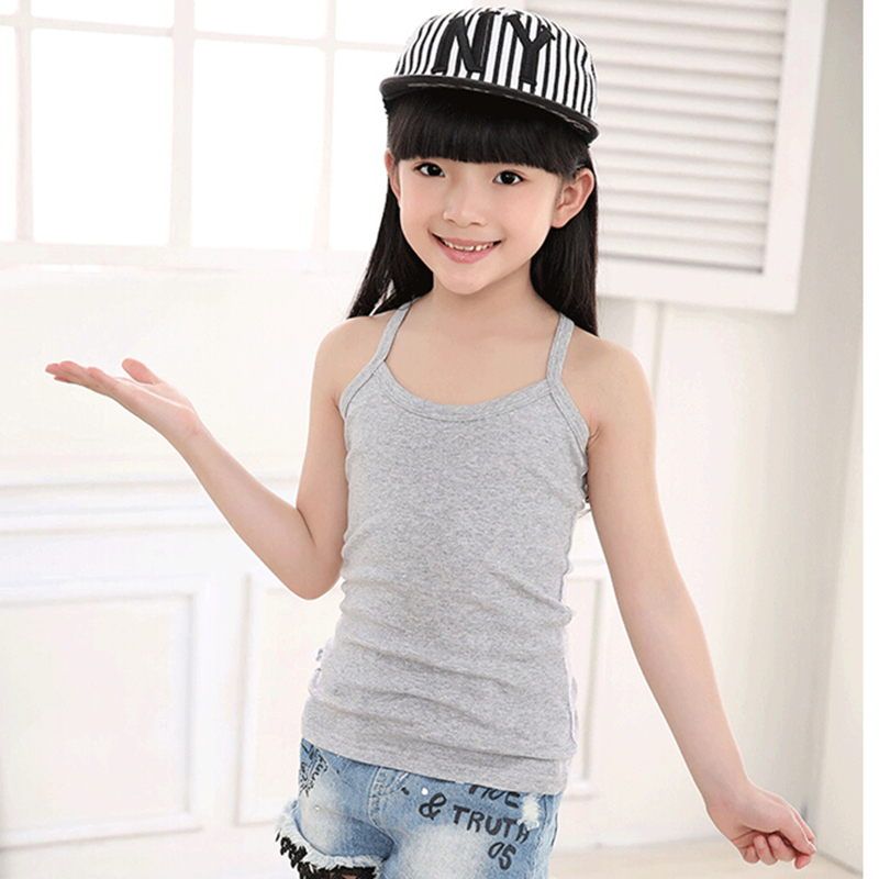 New Solid Tanks For Girls Cotton Comfortable Sling Slim Clothes Fashion Camisole Kids Underwear Children Clothing Free Shipping (9)