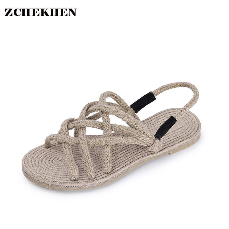 2017 Summer Straw Gladiator Sandals Women  Open Toe strap  Beach Casual Shoes Woman weaving Ladies Flats Sandals Zapatos Mujer phyanic 2017 summer gladiator sandals straw platform creepers silver shoes woman buckle casual women flats shoes phy4046
