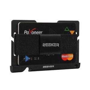 Image 2 - ZEEKER aluminiowa przednia kieszeń na karty etui na dowód Slim Metal mały portfel męski portfele