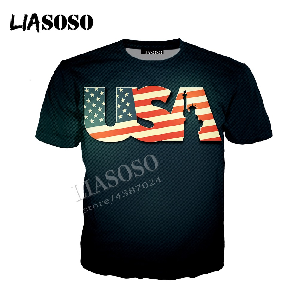 LIASOSO latest 3D print cozy polyester sportswear set creative America flag Statue Of Liberty men women Tees hoodie shirt CX825