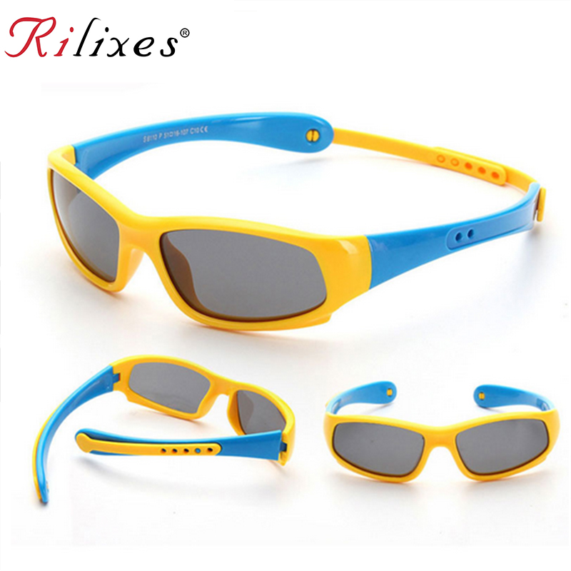 Rilixes не легко ломаются дети TR90 поляризационные Солнцезащитные очки для женщин детей Детская безопасность бренд Очки Гибкая резиновая Óculos ...