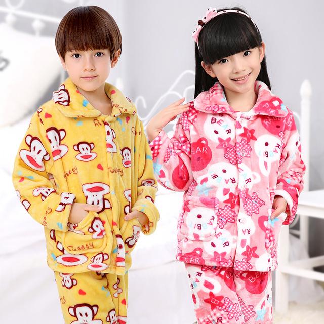 Invierno Niños Niñas niños Pijamas Pijamas ropa de Dormir de Franela Coral Polar Pijamas Sistemas de los Cabritos 3-13 T Niños Ropa de Dormir/Homewear