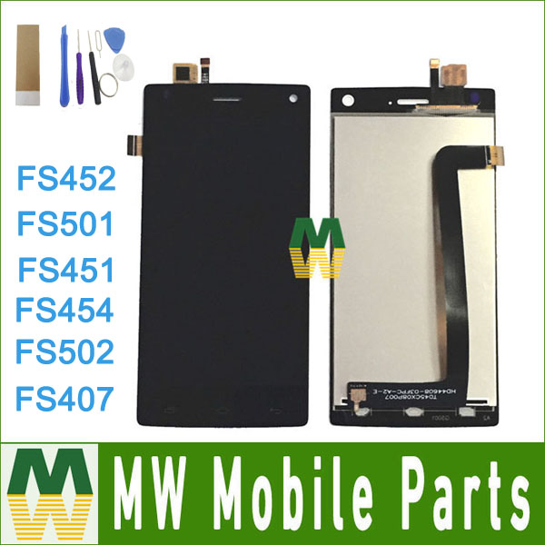 1PC/Lot High Quality For Fly FS407 FS501 FS451 FS454 FS502 FS452 LCD Display Touch Screen Sensor Digitizer Assembly with tools