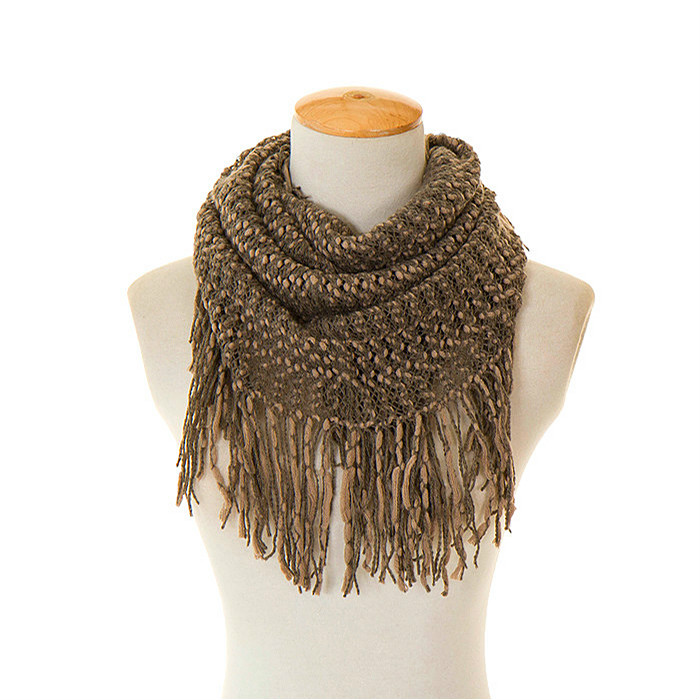 AOLOSHOW Neckerchief Winter Scarf for Women Warm Yarn Knit Snood Loop Infinity Loop Cozy Scarf with Tassel Magic Scarves NL2581