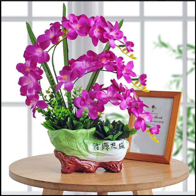 Papillon orchidée simulation fleur bonsaï fleurs artificielles soie fleur ménage décoratif arts et artisanat décoration.