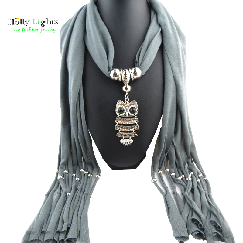 women winter grey collier scarf necklace&pendants owl bird animal vintage maxi scarf choker soild color black  jewelry new fall