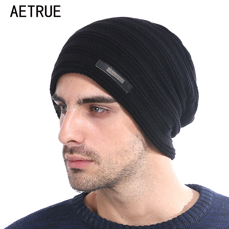 Men   Beanies   Winter Hats For Men Knitted Hat Warm Bonnet Caps Baggy Brand Solid Thicken Fur Women Winter Hat Wool   Skullies     Beanie