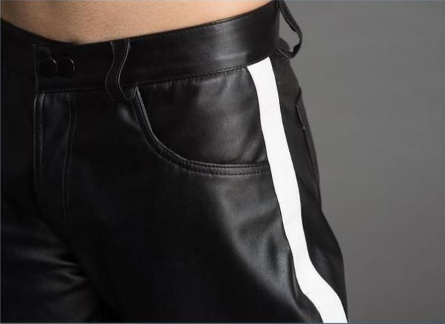 High-end custom-made men's color pantaloons leather pants fashion personality.      29-37!! 5