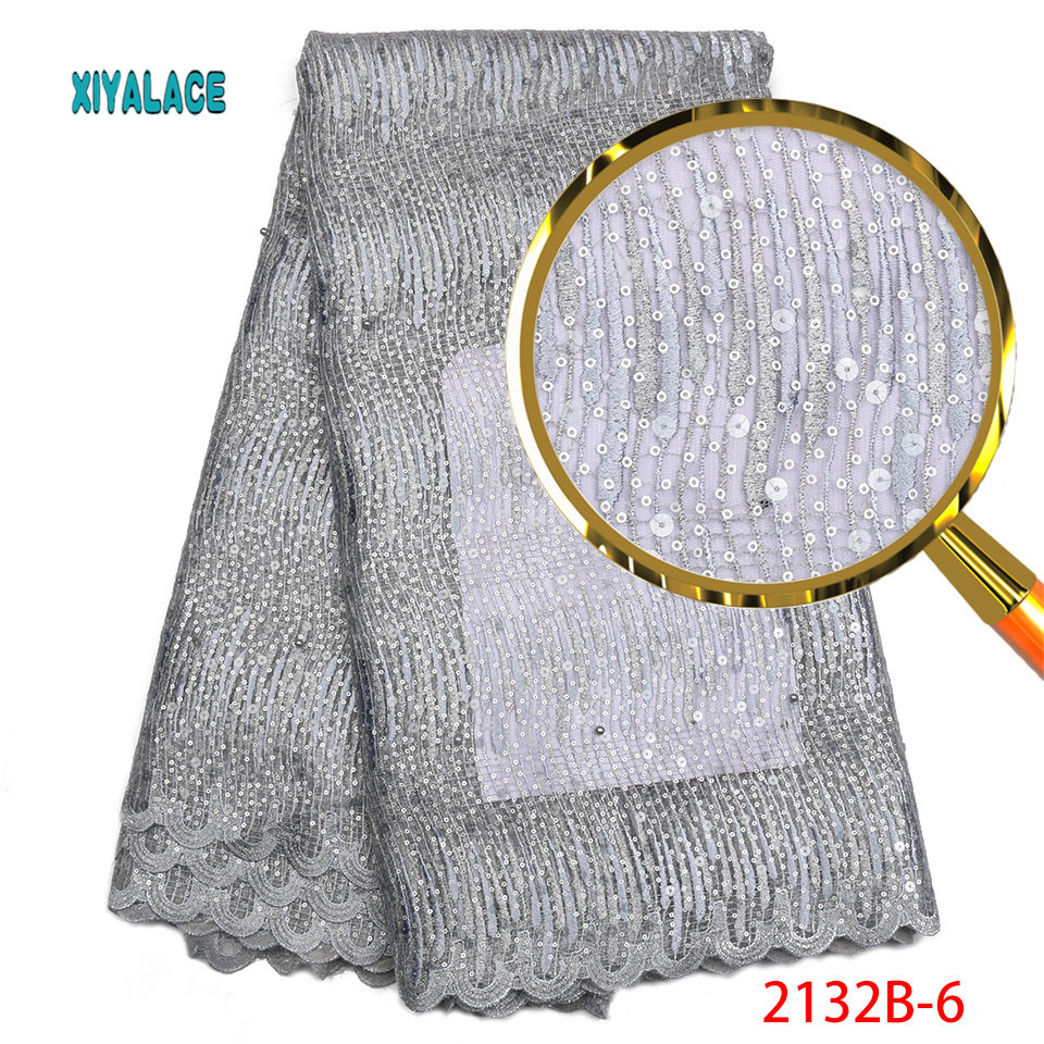 Grey French Lace Fabric Latest Lace Fabric High Quality Sequins Fabirc Embroidery Nigerian African Party Dress