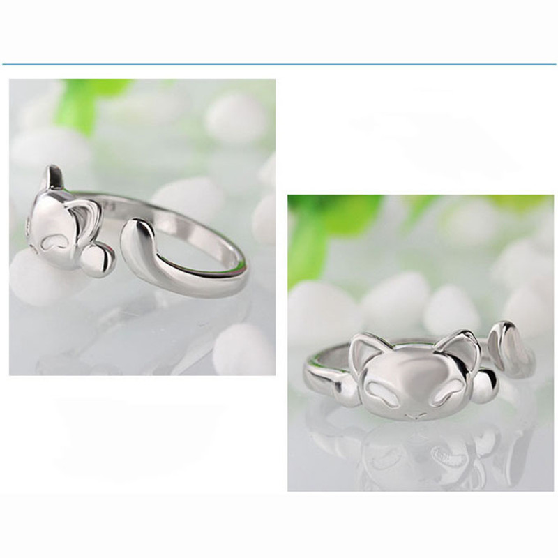 Fashion Cute Fox Rings Lovely Animal Funny Party Finger Rings for Women 925 Sterling Silver Jewelry Free Shipping