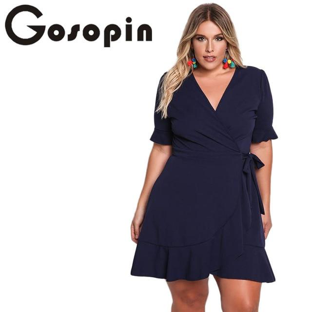 feabf6dd6bfa Gosopin Dark Blue Ruffled XXL Fashion Autumn Mini Sexy Dresses Women Europe  2017 Plus Size Deep V Work Dress Vente Chaude 220175