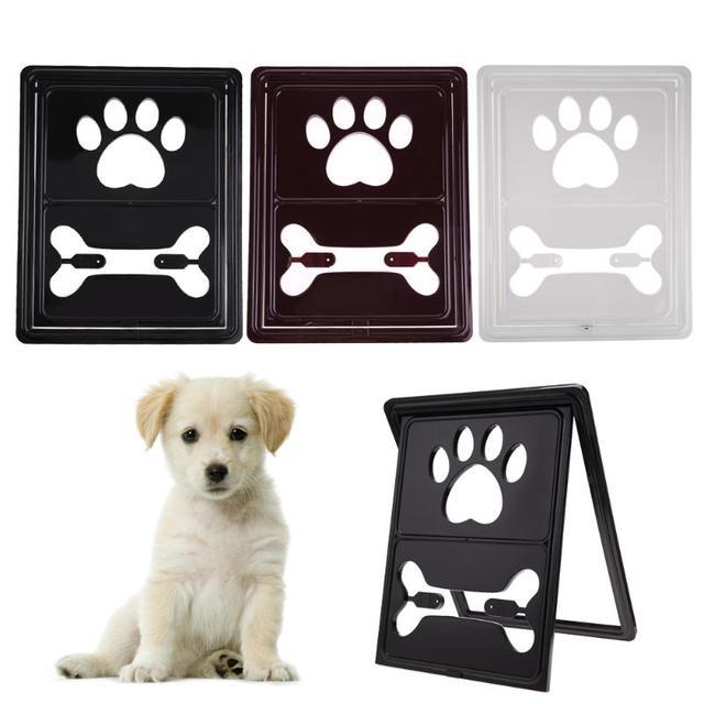 Bone Handprint Plastic Pet Dog Cat Door For Screen Window Gate Locking  Indoor/Outdoor Pet