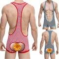 S / M / L / XL New Arrival 95% algodão 5% Spandex listras erótico Mankini Jockstrap Sexy homens de Wrestling Singlet Bodysuit bunda Open 2015