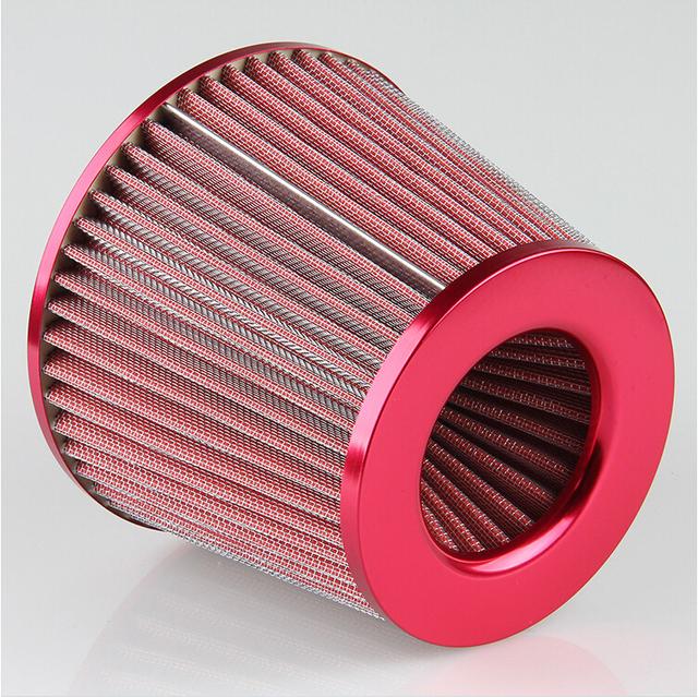 Coche Del Filtro de aire Frío 75mm Adaptador Embudo Dual 3 ''76-88-100mm Redondo Mini Filtro de Admisión de Aire ROJO