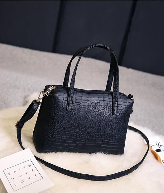 SMOOZA 2 PCS/1 Set Women's Crocodile pattern Black Composite Bag luxury handbags women bags designer Large capacity shoulder bag