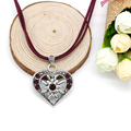 German Drindle Silver Vintage Heart Edelweiss Necklace Oktoberfest Trachten Rhinestone Choker Necklace  FN0049-C