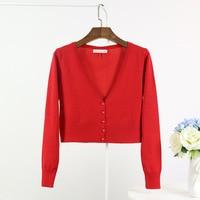 2017 New Women S Korean Spring Summer Sweater Cardigan Women Slim High Waist V Neck Short