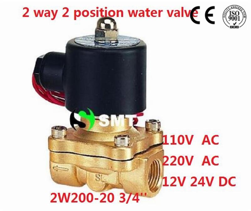 Free Shipping 5PCS 3/4 Ports 2 Way 2 Position Solenoid Valve DC 24V 2W200-20 VITON High Quality high quality ac220v 2v025 electromagnetic 2 position 2 way solenoid valve free shipping